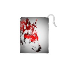 Red Black Wolf Stamp Background Drawstring Pouches (XS)  by Nexatart