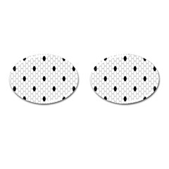 Black White Hexagon Dots Cufflinks (Oval) by Mariart