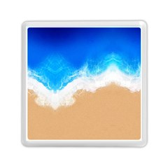 Sand Beach Water Sea Blue Brown Waves Wave Memory Card Reader (Square)  by Mariart