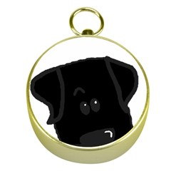 Black Lab Peeping Dog Gold Compasses by TailWags