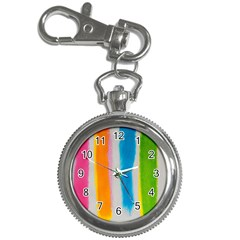 Watercolors Stripes             Key Chain Watch by LalyLauraFLM