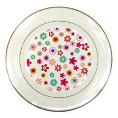 Floral Flowers Background Pattern Porcelain Plates by Nexatart