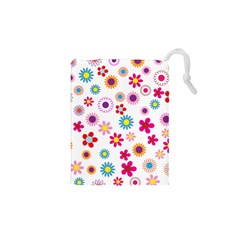 Floral Flowers Background Pattern Drawstring Pouches (xs)  by Nexatart