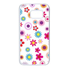 Floral Flowers Background Pattern Samsung Galaxy S7 White Seamless Case by Nexatart