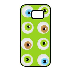 Eyes Background Structure Endless Samsung Galaxy S7 Edge Black Seamless Case