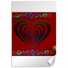 Red Heart Colorful Love Shape Canvas 20  x 30   by Nexatart