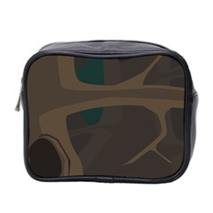Tree Jungle Brown Green Mini Toiletries Bag 2-Side by Mariart
