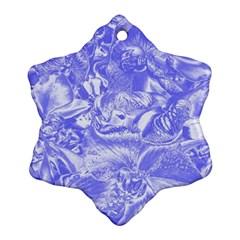 Shimmering Floral Damask,blue Ornament (Snowflake)