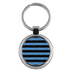 Stripes2 Black Marble & Blue Colored Pencil Key Chain (round) by trendistuff
