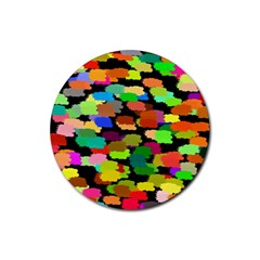 Colorful paint on a black background                 Rubber Round Coaster (4 pack)
