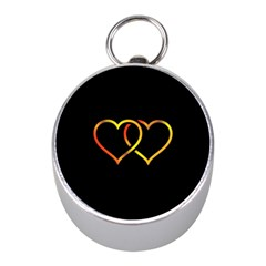 Heart Gold Black Background Love Mini Silver Compasses by Nexatart