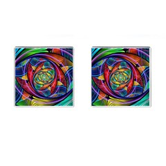Eye of the Rainbow Cufflinks (Square) by WolfepawFractals