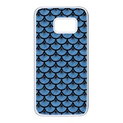 Scales3 Black Marble & Blue Colored Pencil (r) Samsung Galaxy S7 White Seamless Case by trendistuff