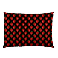 Fresh Bright Red Strawberries on Black Pattern Pillow Case (Two Sides)