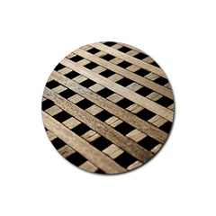 Texture Wood Flooring Brown Macro Rubber Round Coaster (4 Pack)  by Nexatart