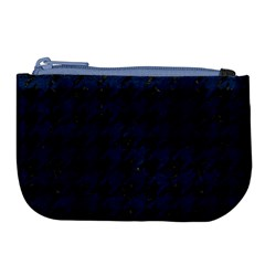 Houndstooth1 Black Marble & Blue Grunge Large Coin Purse by trendistuff