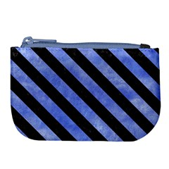 Stripes3 Black Marble & Blue Watercolor (r) Large Coin Purse by trendistuff