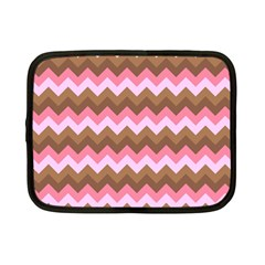 Shades Of Pink And Brown Retro Zigzag Chevron Pattern Netbook Case (small)  by Nexatart