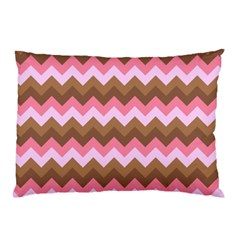 Shades Of Pink And Brown Retro Zigzag Chevron Pattern Pillow Case (two Sides)