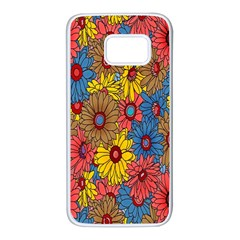 Background With Multi Color Floral Pattern Samsung Galaxy S7 White Seamless Case