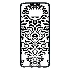 Vintage Damask Black Flower Samsung Galaxy S8 Plus Black Seamless Case by Mariart