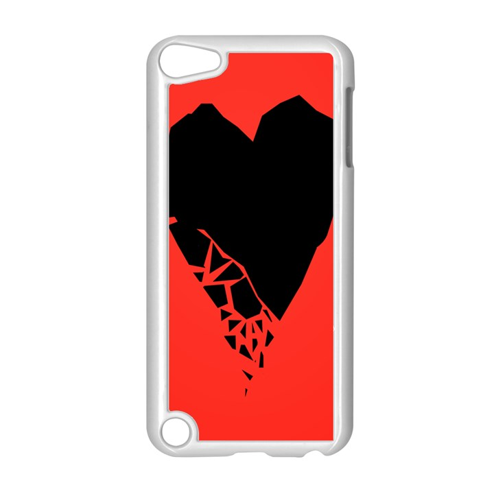 Broken Heart Tease Black Red Apple iPod Touch 5 Case (White)