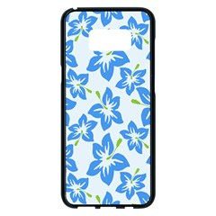 Hibiscus Flowers Seamless Blue Samsung Galaxy S8 Plus Black Seamless Case by Mariart