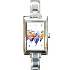 Watercolor Feathers Rectangle Italian Charm Watch by LimeGreenFlamingo