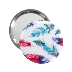 Watercolor Feather Background 2 25  Handbag Mirrors by LimeGreenFlamingo