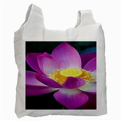 Pink Lotus Flower Recycle Bag (two Side)  by BangZart