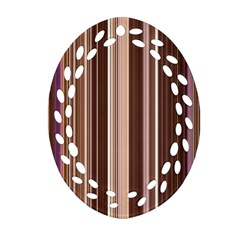 Brown Vertical Stripes Ornament (oval Filigree) by BangZart