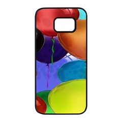 Colorful Balloons Render Samsung Galaxy S7 Edge Black Seamless Case by BangZart