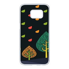 Vector Color Tree Samsung Galaxy S7 Edge White Seamless Case by BangZart