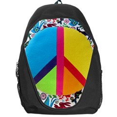 Peace Sign Animals Pattern Backpack Bag by BangZart