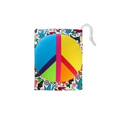 Peace Sign Animals Pattern Drawstring Pouches (xs)  by BangZart