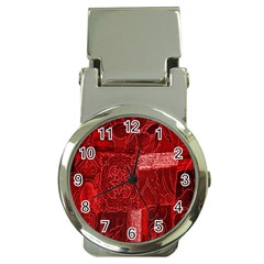 Red Background Patchwork Flowers Money Clip Watches