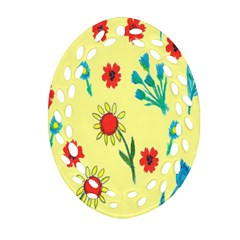 Flowers Fabric Design Ornament (oval Filigree) by BangZart