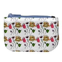 Handmade Pattern With Crazy Flowers Large Coin Purse by BangZart