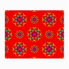 Rainbow Colors Geometric Circles Seamless Pattern On Red Background Small Glasses Cloth (2 Side) by BangZart