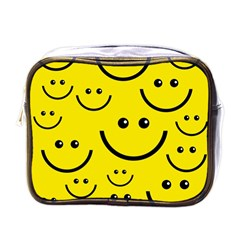 Digitally Created Yellow Happy Smile  Face Wallpaper Mini Toiletries Bags by BangZart