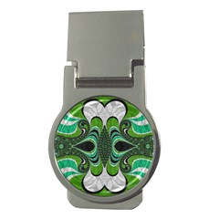 Fractal Art Green Pattern Design Money Clips (round)  by BangZart