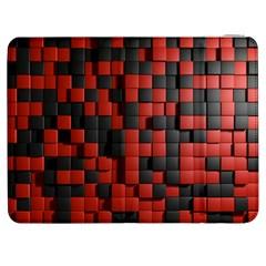Black Red Tiles Checkerboard Samsung Galaxy Tab 7  P1000 Flip Case
