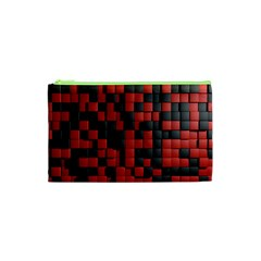 Black Red Tiles Checkerboard Cosmetic Bag (xs)