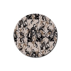 Dragon Pattern Background Rubber Round Coaster (4 Pack)  by BangZart