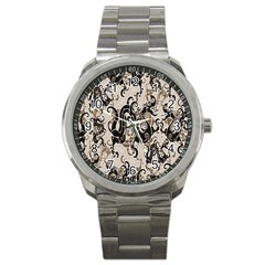 Dragon Pattern Background Sport Metal Watch