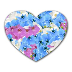 Tulips Floral Pattern Heart Mousepads