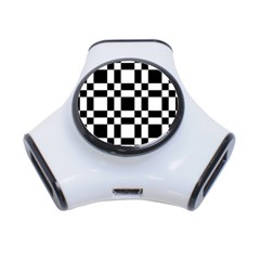 Checkerboard Black And White 3 Port Usb Hub by Colorfulart23