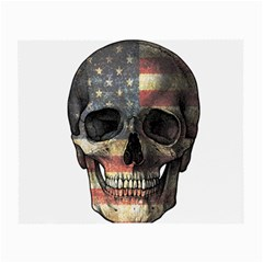 American Flag Skull Small Glasses Cloth (2 Side) by Valentinaart