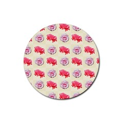 Yellow Floral Roses Pattern Rubber Coaster (round)