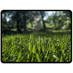 Green Grass Field Fleece Blanket (large)